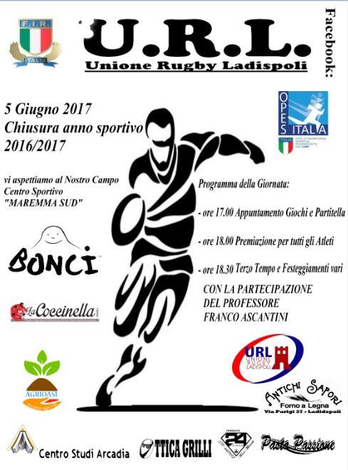 Unione Rugby Ladispoli_festa di fine stagione sportiva_volantino