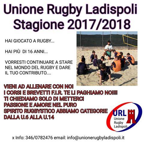 Unione Rugby Ladispoli: cercasi allenatori per la stagione sportiva 2017/2018