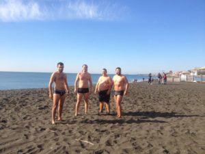 U.R.L. bagno post allenamento sulla spiaggia